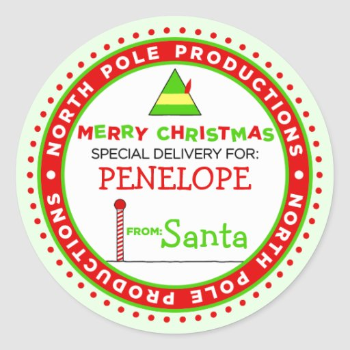 Custom North Pole Productions Gift Tag Classic Round Sticker