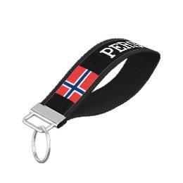 Custom Norwegian flag wrist keychain for Norway