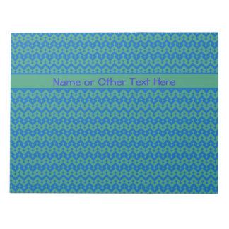 Custom Notepad Jotter, Emerald and Blue Geometric
