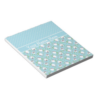 Custom Notepad or Jotter: Blue, Fun Sheep Patterns