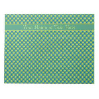 Custom Notepad or Jotter,  Blue, Green Polka Dots