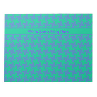 Custom Notepad or Jotter Emerald and Blue Dogtooth