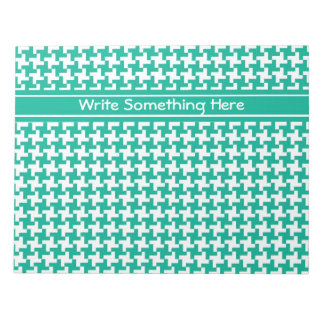 Custom Notepad or Jotter, Emerald Dogtooth Check