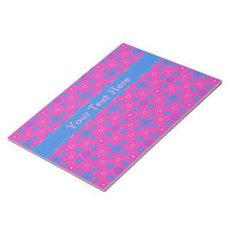 Custom Notepad or Jotter, Magenta Bright Blue Dots