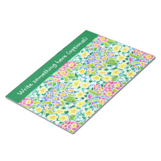 Custom Notepad or Jotter, Primroses, Forest Green