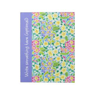 Custom Notepad or Jotter, Primroses, Powder Blue