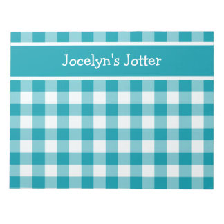 Custom Notepad or Jotter, Teal Check Gingham