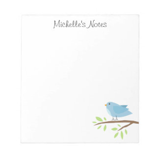 Custom notepad with cute blue bird and tree branch