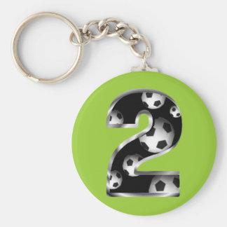 Custom Number 2 Soccer Keychain