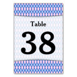 [ Thumbnail: Custom Number; Blue and Pink Diamond Shape Pattern Table Number ]