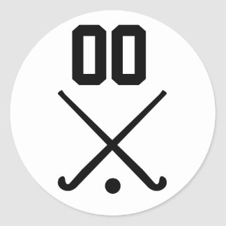Custom Number Team Field Hockey Classic Round Sticker