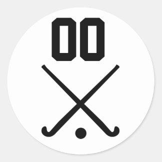 Custom Number Team Field Hockey Classic Round Sticker