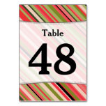 [ Thumbnail: Custom Number; Watermelon-Inspired Stripes Table Number ]