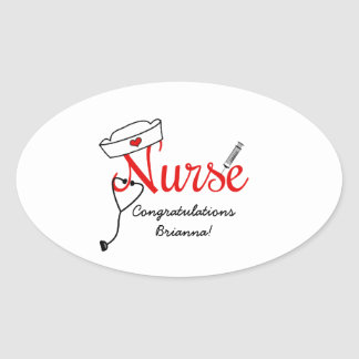 custom Nurse graduation favor stickers RED