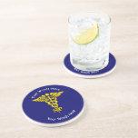 Custom Nurse Practitioner Caduceus Drink Coaster