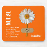 "Custom Nurse&#39;s Name Gift Mousepad<br><div class=""desc"">Nurses Day /  Nurses Week / Graduation /  Birthday / Any occasion Gift Mousepad  for a special Nurse with a personalized Nurse&#39;s name. Matching cards,  postage stamps and other products available in the Business Related Holidays / Nurses Day Category of our store.</div>"