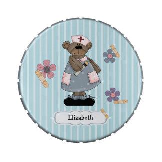 Custom Nurse's Name Teddy Bear Design Candy Tins