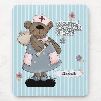 Custom Nurse's Name Teddy Bear Design Mousepads