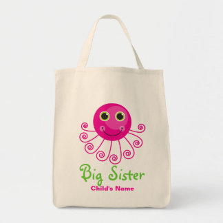 Custom Octopus Big Sister Child's Name Canvas Bags