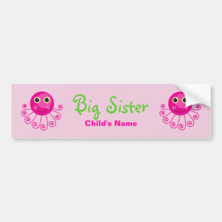 Custom Octopus Big Sister Child's Name Bumper Sticker