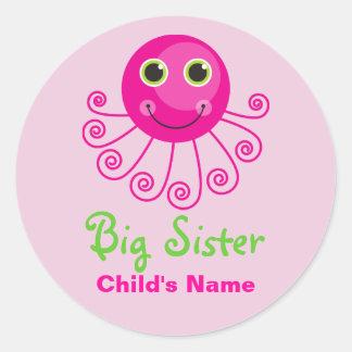Custom Octopus Big Sister Child's Name Classic Round Sticker
