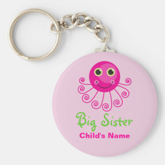 Custom Octopus Big Sister Child's Name Keychain