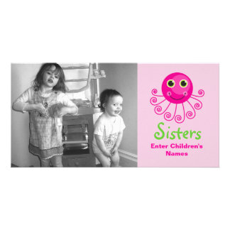 Custom Octopus Big Sister Child's Name Picture Card