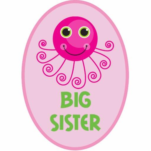 Custom Octopus Big Sister Child's Name Photo Sculpture