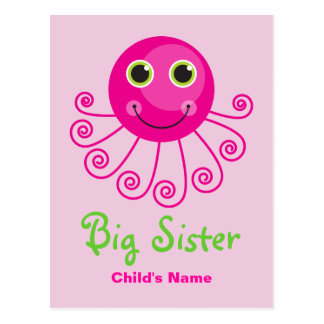 Custom Octopus Big Sister Child's Name Postcard