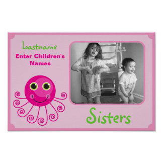 Custom Octopus Big Sister Child's Name Posters