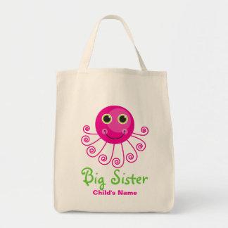 Custom Octopus Big Sister Child's Name Tote Bag