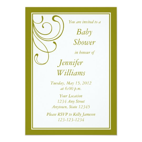 Custom Olive Green Invitation - Elegant Flourish