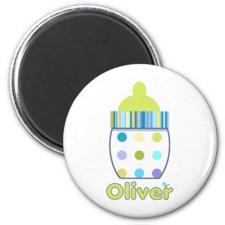 Custom Oliver Baby Bottle 2 Inch Round Magnet