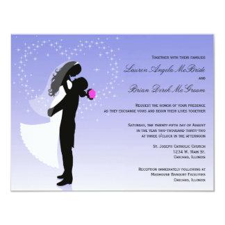 """Custom Ombre Silhouette Formal Wedding Invite 4.25"""" X 5.5"""" Invitation Card"""