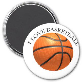 Custom orange and black leather basketball magnet