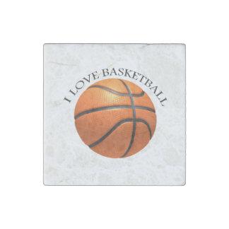 Custom orange and black leather basketball stone magnet