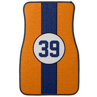 Custom Orange and Blue Stripe car mats Floor Mat