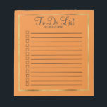 """Custom Orange and Gold To Do Notepad<br><div class=""""desc"""">Personalized orange with gold frame &quot;To Do&quot; list lined notepad with check boxes.  Text,  font,  font size,  color,  and placement are completely customizable.</div>"""