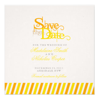 Custom orange and gold white vintage save the date custom invite