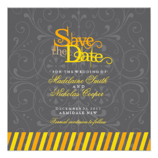 Custom orange and gold white vintage save the date personalized invitation