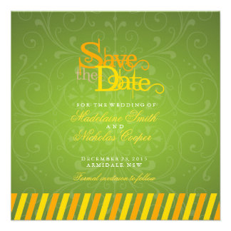 Custom orange and gold white vintage save the date custom announcement