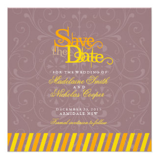 Custom orange and gold white vintage save the date custom announcements