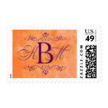 Custom orange and purple monogram stamp