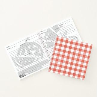 Custom Orange and White Checked Plaid Notebook