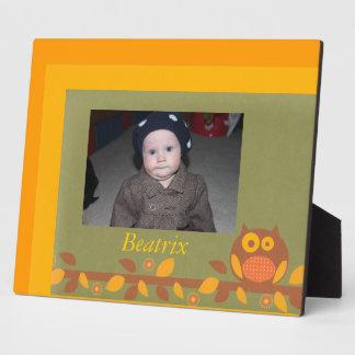 Custom  Orange and Yellow Hoot Owl Frame Plaque