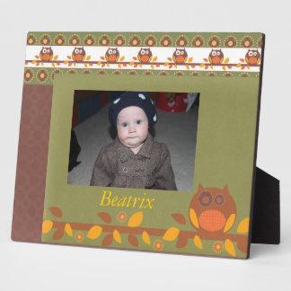 Custom  Orange and Yellow Hoot Owls Frame Plaque