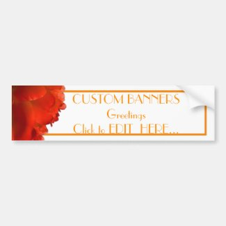 CUSTOM ORANGE BANNERS MATCHING BUMPER STICKER