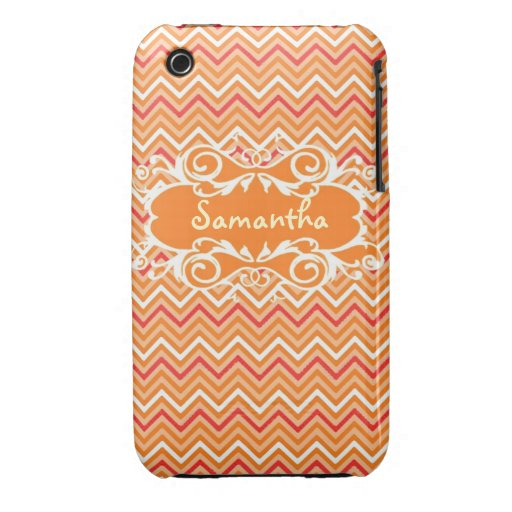 Custom Orange Chevron Name Iphone4s case iPhone 3 Cover
