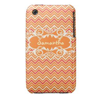 Custom Orange Chevron Name Iphone4s case iPhone 3 Cases