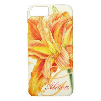 Custom orange daylily floral iphone case